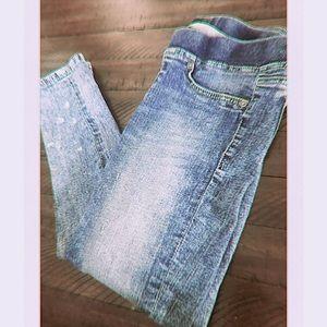 (Macy's) lightwash paint splatter stretchy jeans